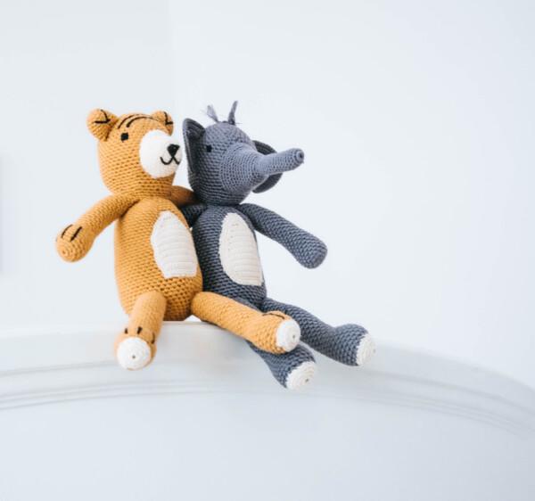 Handmade Cuddly Tiger and Elephant