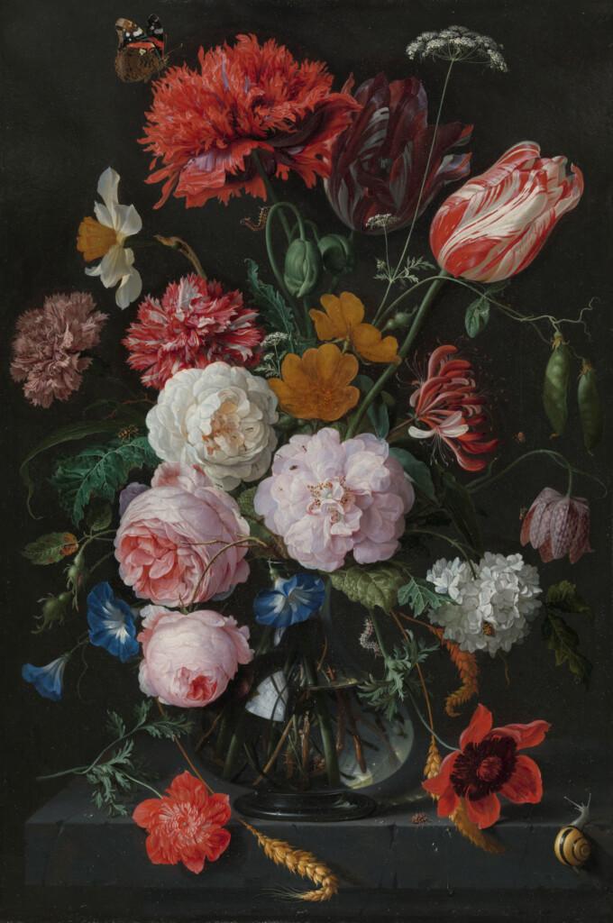 Stilleven met bloemen in een glazen vaas, Jan Davidsz. de Heem, 1650 - 1683
