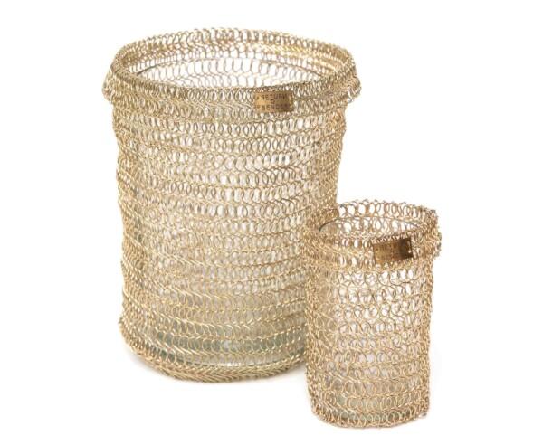 Gold woven tealight - handmade