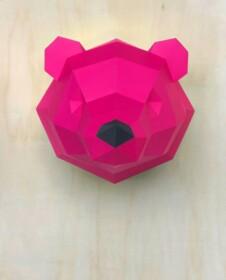 3D papieren ijsbeer – Limited Edition, roze,