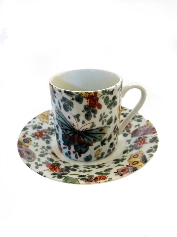 butterfly flower espresso cup set