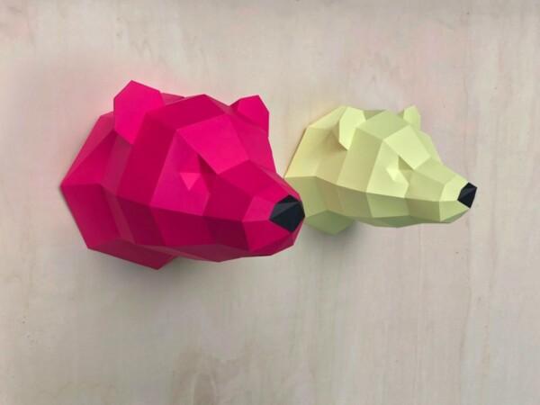 3D Papier Eisbär – Limited Edition, gelb & rosa