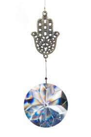 Pendant Chamsa, silver and glas